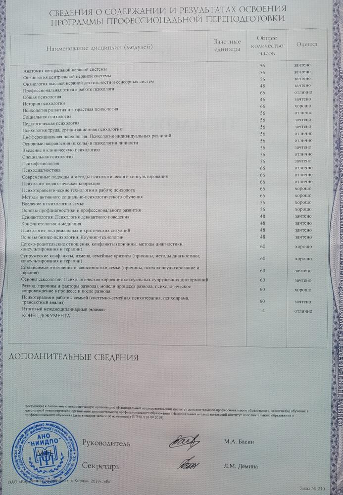 Диплом об образовании психолога Михаила Хибина